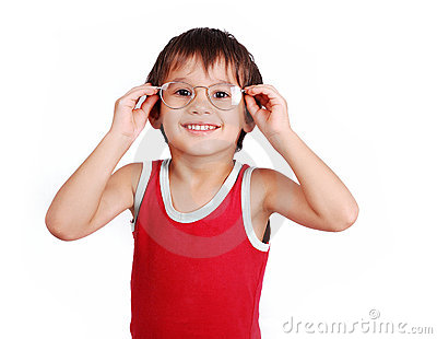Little positive kid with glasses