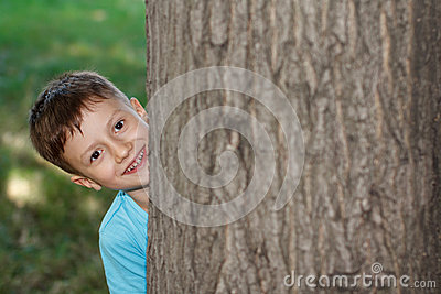 Little preschooler boy hide-and-seek at tree