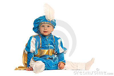 Little prince in blue suit