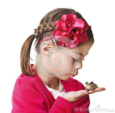 Free Little Princess Kissing A Frog Royalty Free Stock Photography - 29633957