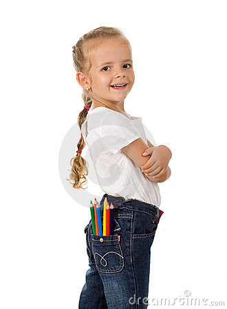 Free Little Proud Girl With Pencils In Her Pocket Royalty Free Stock Image - 15717296