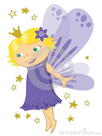 Free Little Purple Fairy Princess With Blonde Hair Cartoon Royalty Free Stock Image - 110752596
