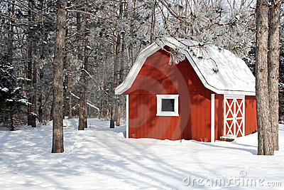 Little red barn in the winter