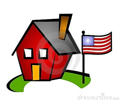 Little Red House and US Flag