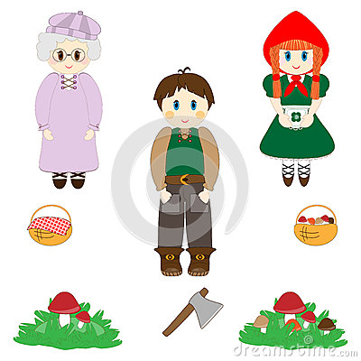Little Red Riding Hood characters set Vector Illustration