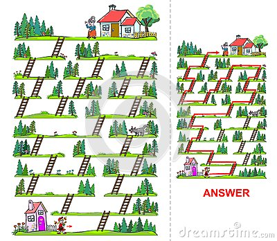 Little Red Riding Hood maze for kids