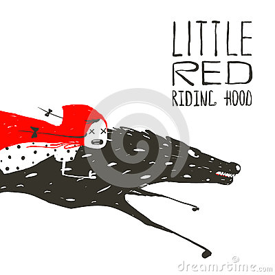 Free Little Red Riding Hood On Black Wolf Running Stock Photos - 53276103