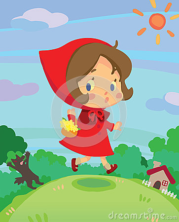 Little red riding hood on run in a little dreamy w