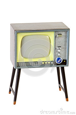 Little retro television isolated on white