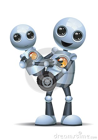 Free Little Robot Carry Baby Little Robot Stock Photo - 134395500