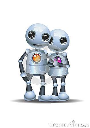 Free Little Robot Couple Walking On Isolated White Background Stock Images - 117146024