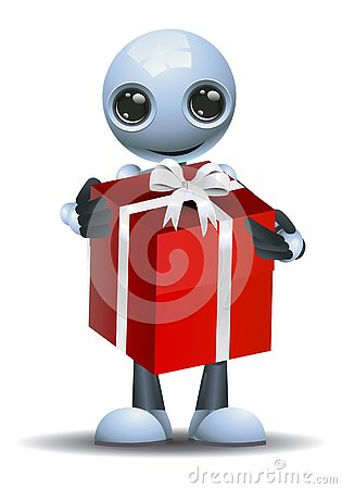 Free Little Robot Got A Big Gift Royalty Free Stock Image - 135269876