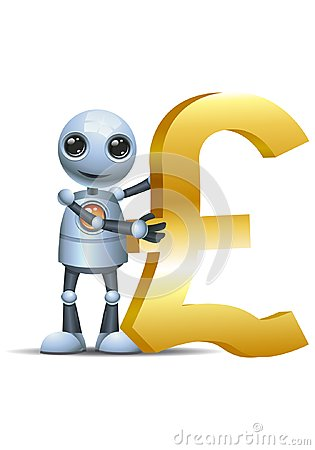 Free Little Robot Hold Pound Symbol Stock Photography - 118708392