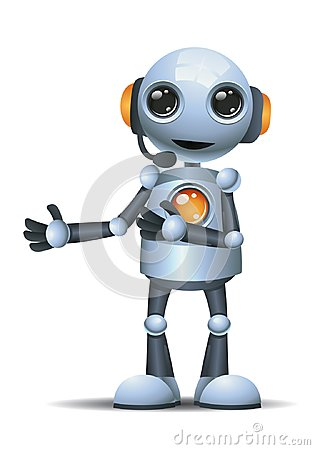 Free Little Robot Operator On Isolated White Background Royalty Free Stock Photography - 120813127
