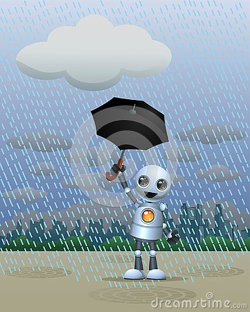 Free Little Robot Playing In The Rain Holding Umbrella Stock Photography - 126535942