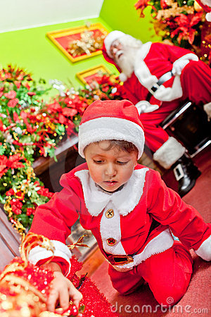 Little Santa with gifts