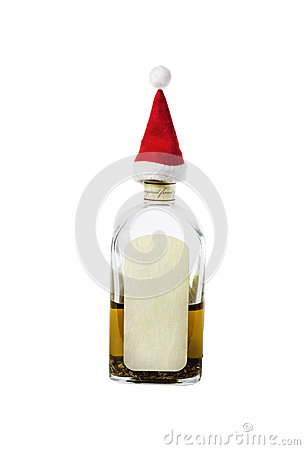 Little Santa s Cap on the bottleneck with strong alcohol