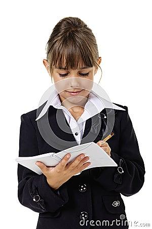 Little school girl in uniform