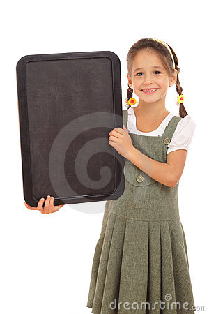 Little schoolgirl with empty vertical chalkboard