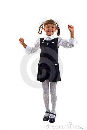 Little Schoolgirl Jumping Of Joy.