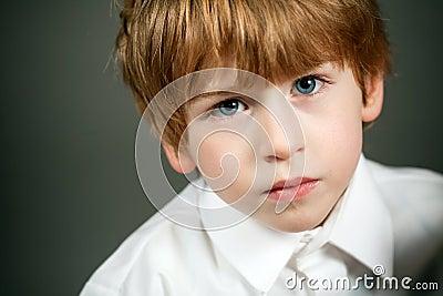 Little serious boy portrait