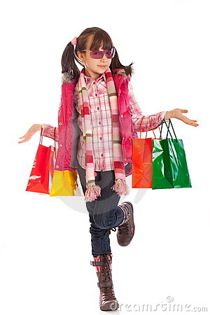 Free Little Shopping Girl Royalty Free Stock Photo - 8186985