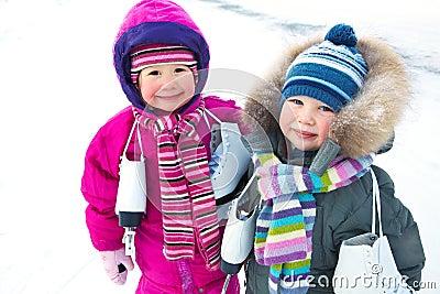 Little skaters in wintertime