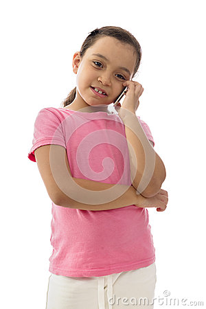 Little Smiling Girl Having a Phone Conversation