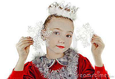 Little snow maiden with snowflakes