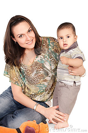 Little son and his pretty young mother