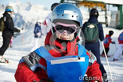 Little sportsman on ski resort