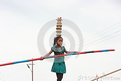 Little stunt girl Editorial Stock Photo