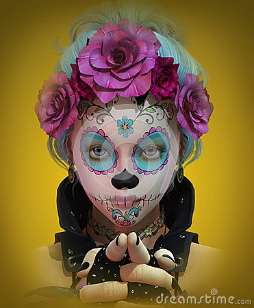 Free Little Sugar Skull Girl, 3d CG Stock Photography - 54015052