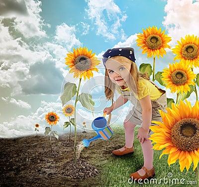Little Sunflower Gardener Girl in Nature