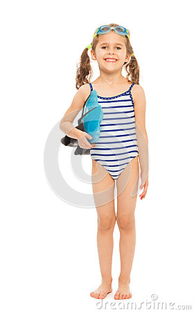 Free Little Swimmer Standing With Flippers And Goggles Stock Photos - 66911513
