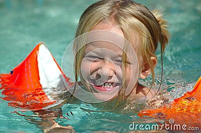 Little swimming pool girl