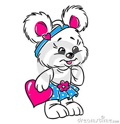 Little teddy bear girl valentine card