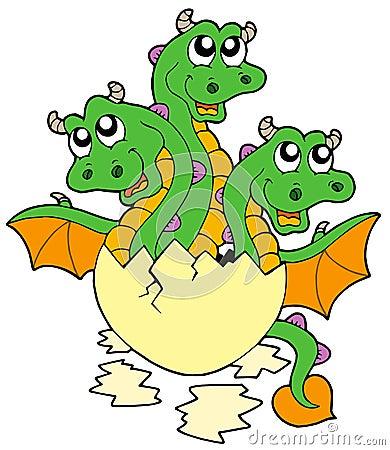 Little three headed dragon in egg