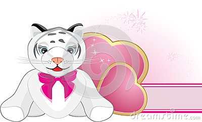 Little tiger with pink bow and hearts. Banner