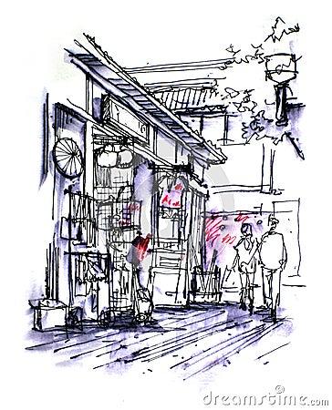 Little tokyo, japanese shopfront drawing
