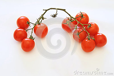 Little tomatoes on white background