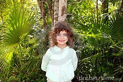 Little tourist girl posing in Mayan Riviera Jungle