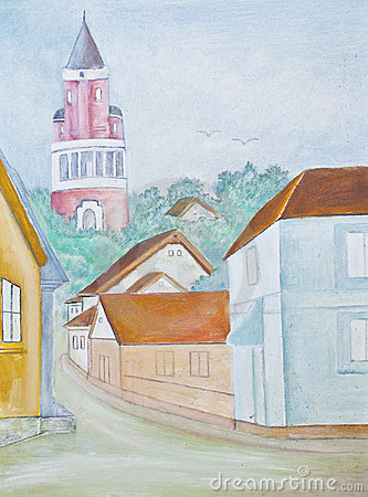 Little town - original watercolor painting