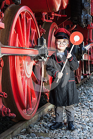 Free Little Train Conductor Boy Stock Photography - 52183402