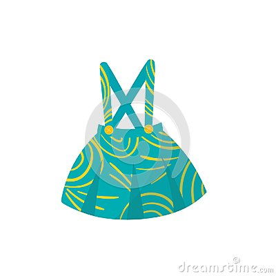 Free Little Turquoise Skirt With Braces, Buttons And Yellow Pattern. Stylish Kids Garment. Cute Apparel For Toddler Girl Royalty Free Stock Photo - 111460475