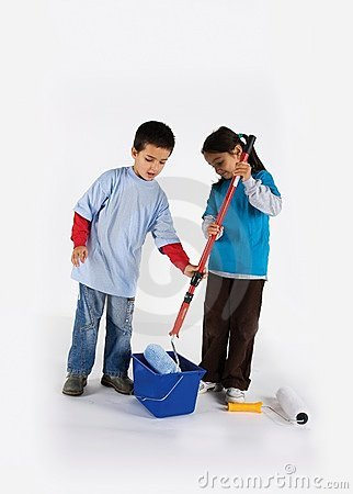 Little two workers with paint roller