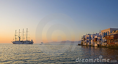 Little Venice on Mykonos at sunset