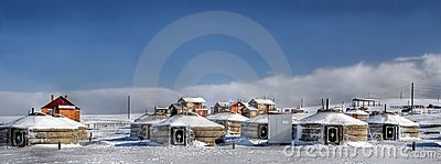 A little village in mongolia with traditional yurt
