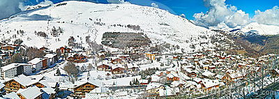 Little village in the mountain alps