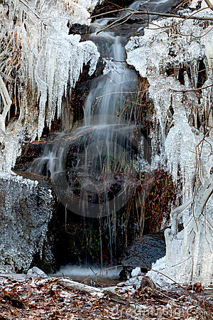 Free Little Waterfall And Needle Ice Stock Image - 17413091